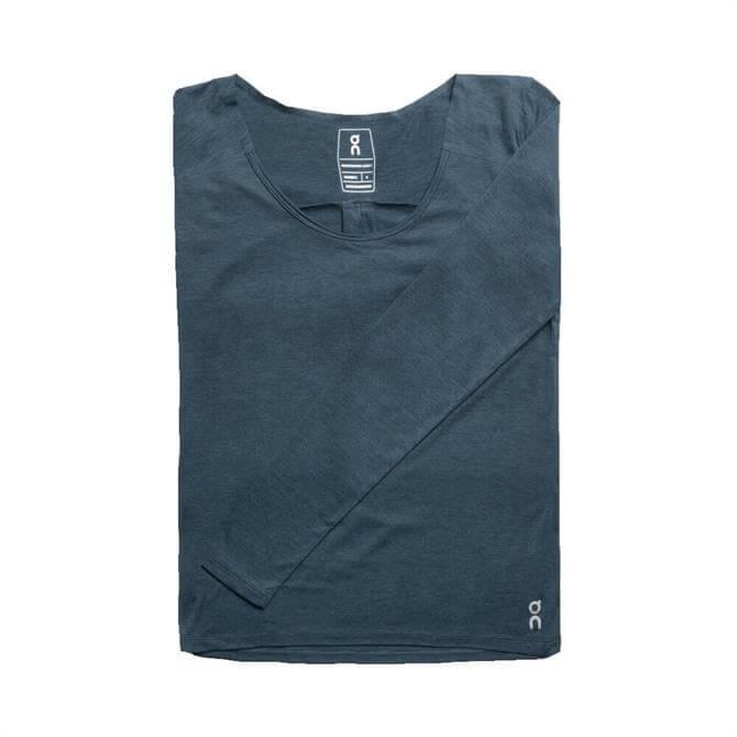 On Women's Performance Long Sleeve T-Shirt - Navy