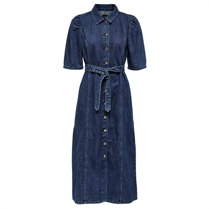 Only Clarity Puff Sleeve Denim Midi Dress