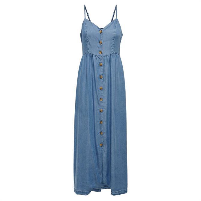 Only Cuma Button Front Maxi Denim Dress