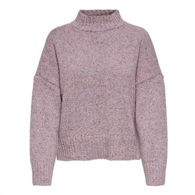 Only Tata Flecked Knit High Neck Sweater