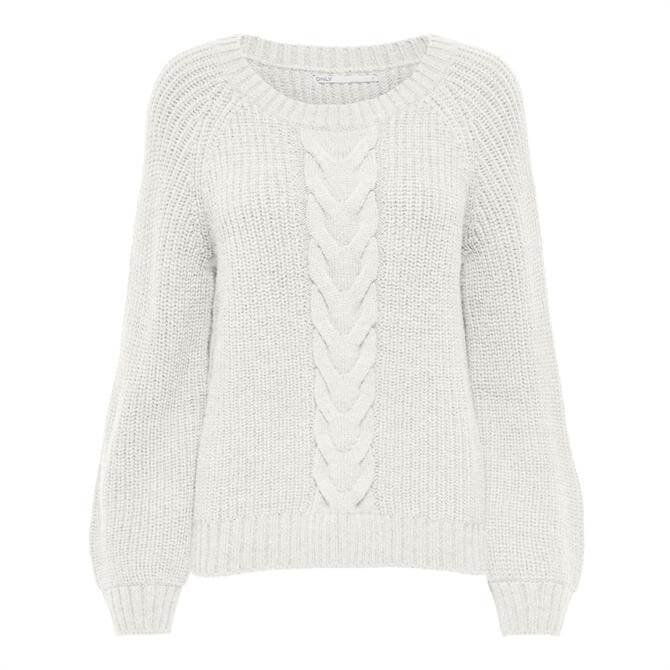 Only Mekia Plait Knit Front Sweater