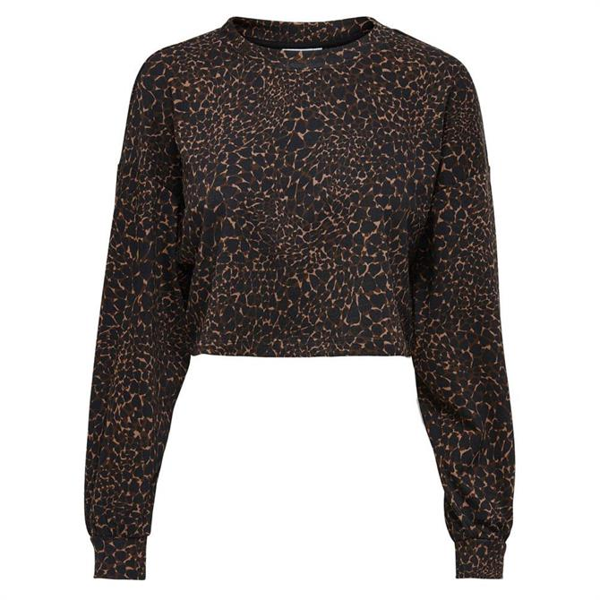 Only Funky Life Patterned Cropped Sweatshirt