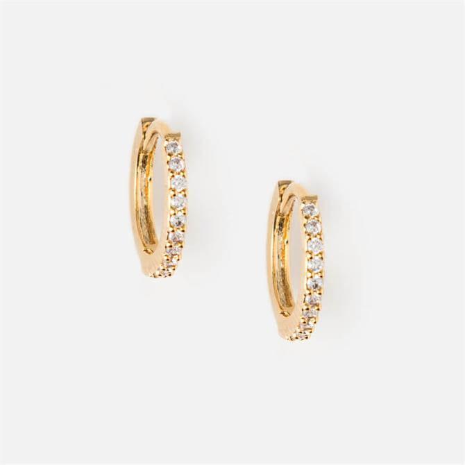 Orelia London Jewellery Mini Pave Huggie Gold Hoop Earrings
