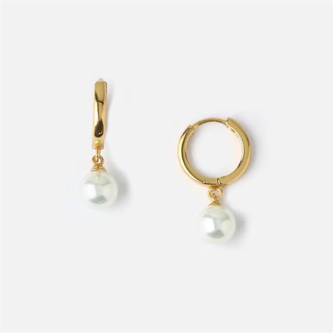 Orelia London Jewellery Pearl Drop Huggie Hoop Earrings