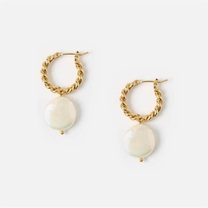 Orelia London Jewellery Rope Twist Pearl Drop Hoop Earrings