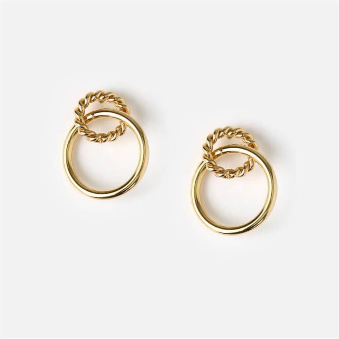 Orelia London Jewellery Rope Twist Golden Interlocked Hoop Earrings