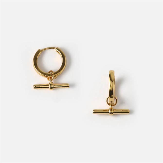 Orelia London Jewellery Golden T-Bar Drop Huggie Hoops Earrings