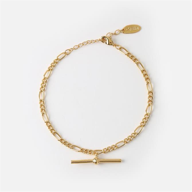 Orelia London Jewellery Golden Chunky T-Bar Figaro Bracelet