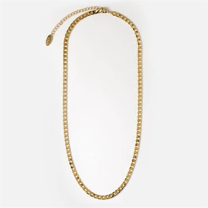 Orelia London Jewellery Flat Link Curb Chain Gold Necklace