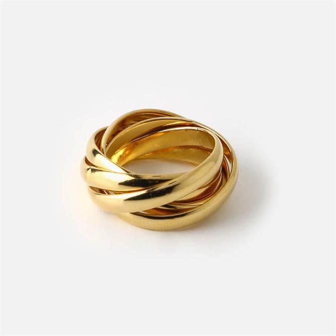 Orelia London Jewellery Interlocking Gold Russian Ring