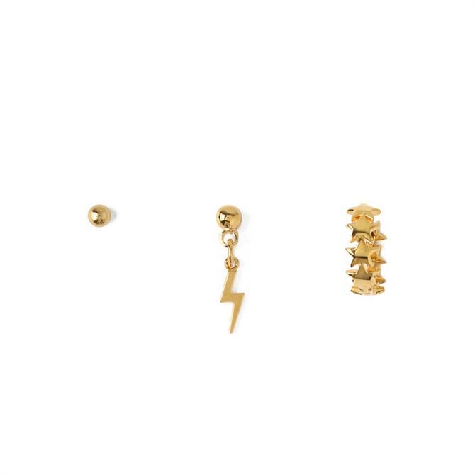 Orelia London Jewellery Lightening Drop Gold Stud Ear Party