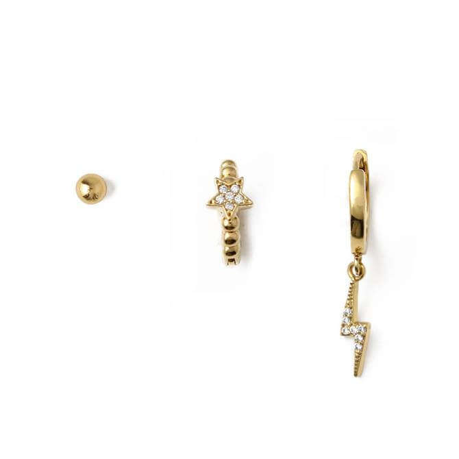 Orelia London Jewellery Pave Lightening & Star Ear Party Earring Set