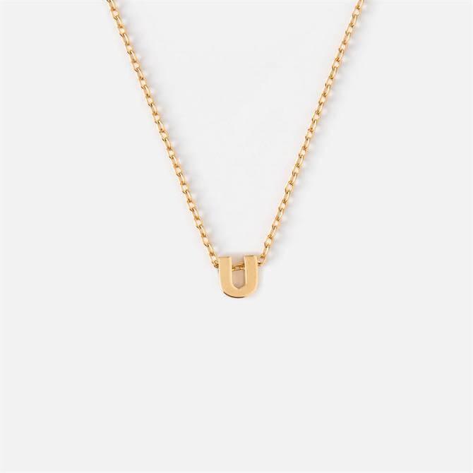 Orelia London Jewellery Initial 'U' Gold Necklace