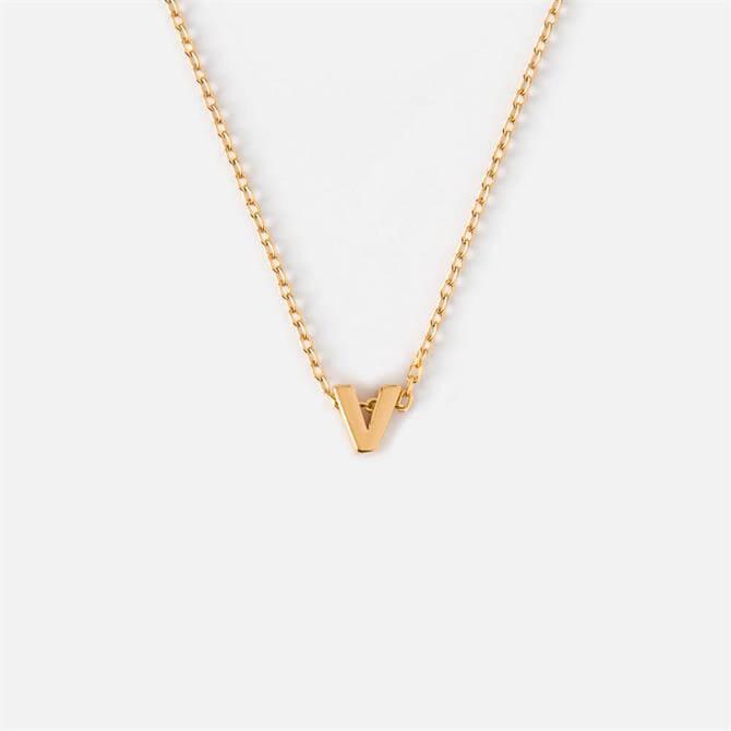 Orelia London Jewellery Initial 'V' Gold Necklace