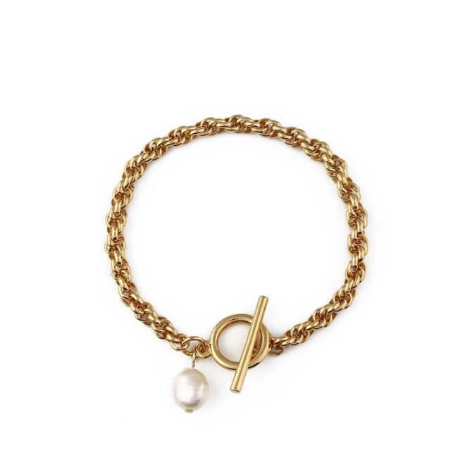 Orelia London Jewellery Pearl & T-Bar Rope Chain Bracelet
