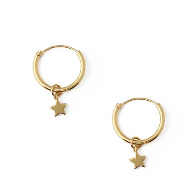 Orelia London Jewellery Gold Star Drop Micro Hoop Earrings