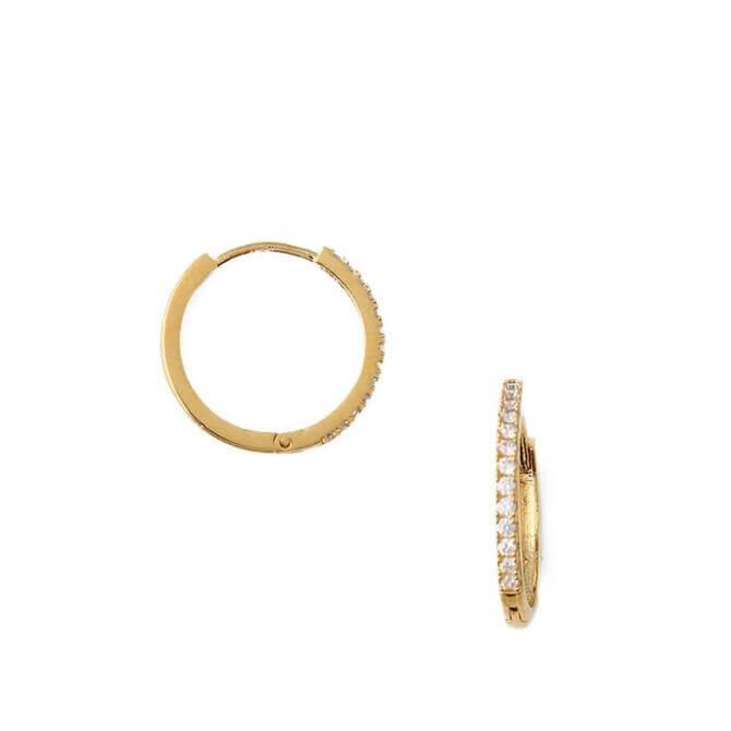 Orelia London Jewellery Gold Pave Mid-Sized Hoop Earrings