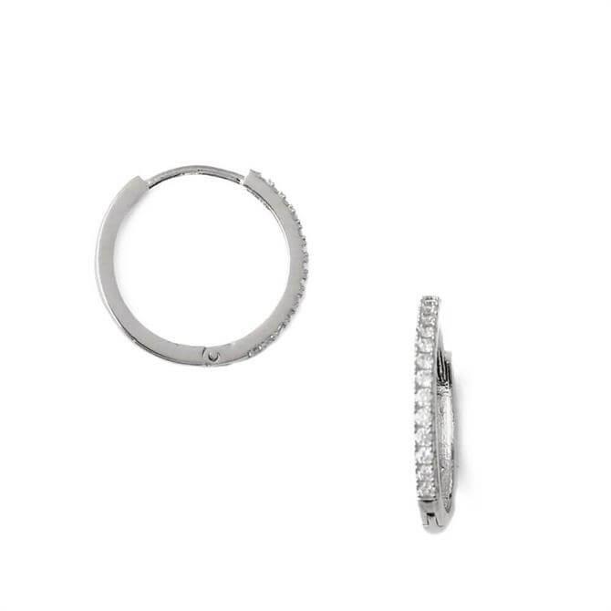 Orelia London Jewellery Silver Pave Mid-Sized Hoop Earrings