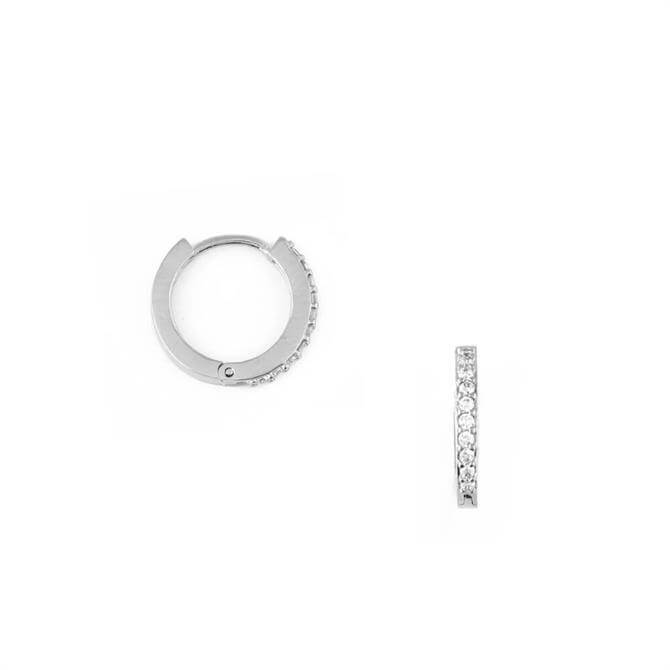 Orelia London Jewellery Silver Mini Pave Huggie Hoop Earrings