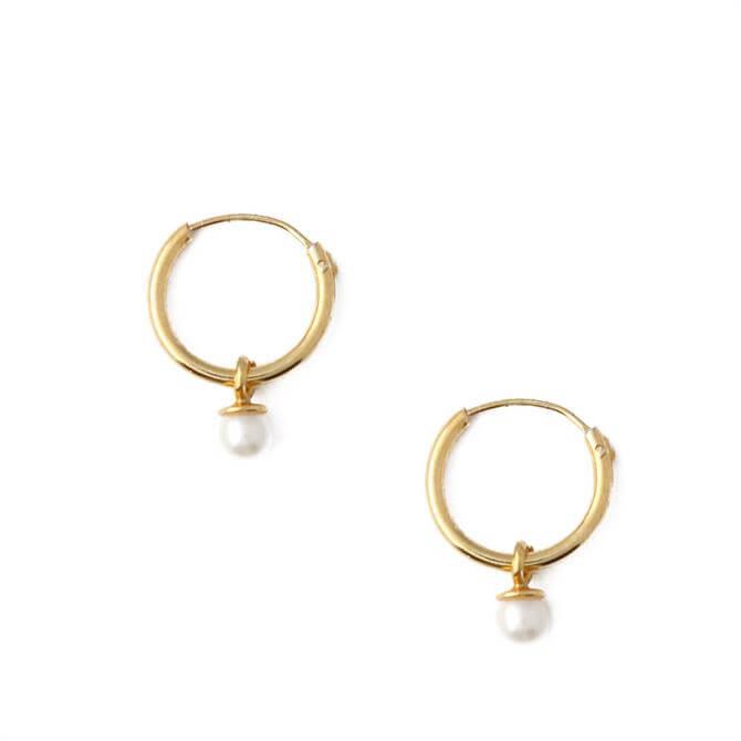 Orelia London Jewellery Gold Pearl Drop Micro Hoop Earrings