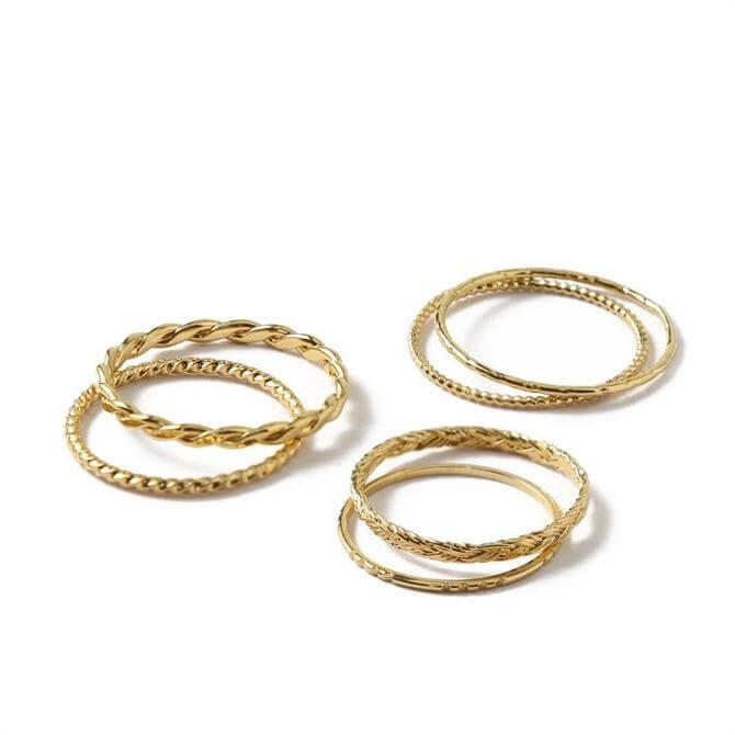 Orelia London Jewellery Gold Multi Stack Ring Set