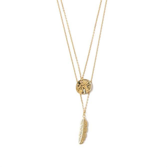 Orelia London Coin & Feather 2 Row Necklace