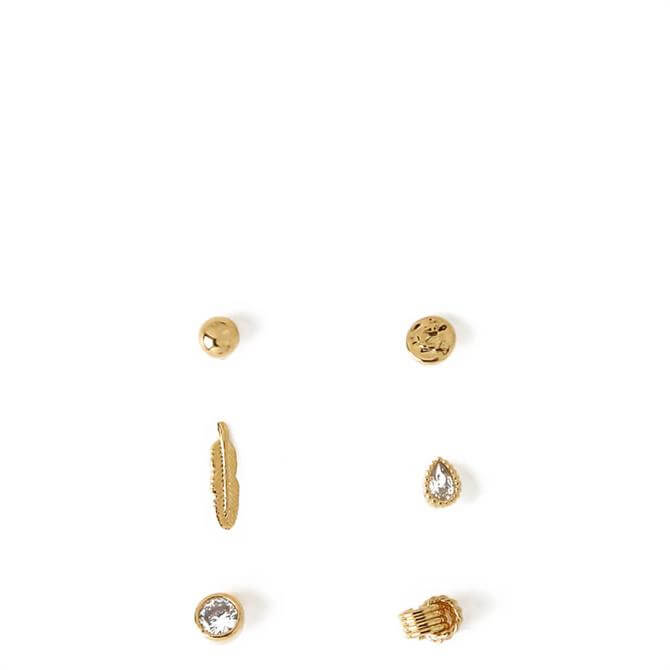 Orelia London Jewellery Mini Feather Mixed Earring Studs Set
