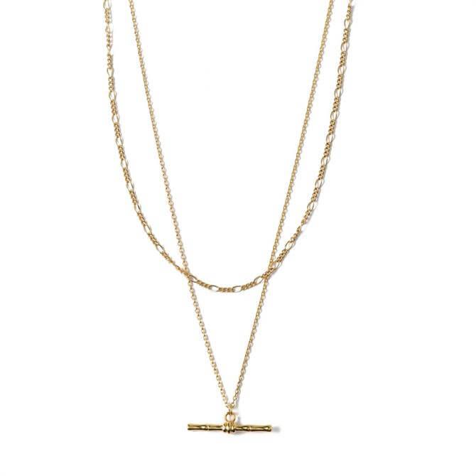 Orelia London Jewellery Bamboo T-Bar 2 Row Necklace