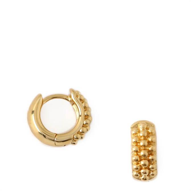 Orelia London Jewellery Gold Beaded Huggie Hoop Earrings