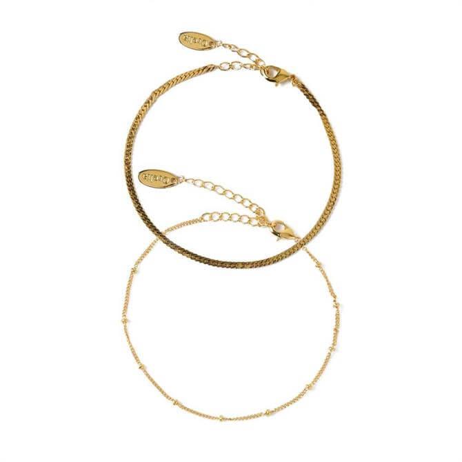 Orelia London Jewellery Gold Satellite & Flat Curb Bracelet Duo