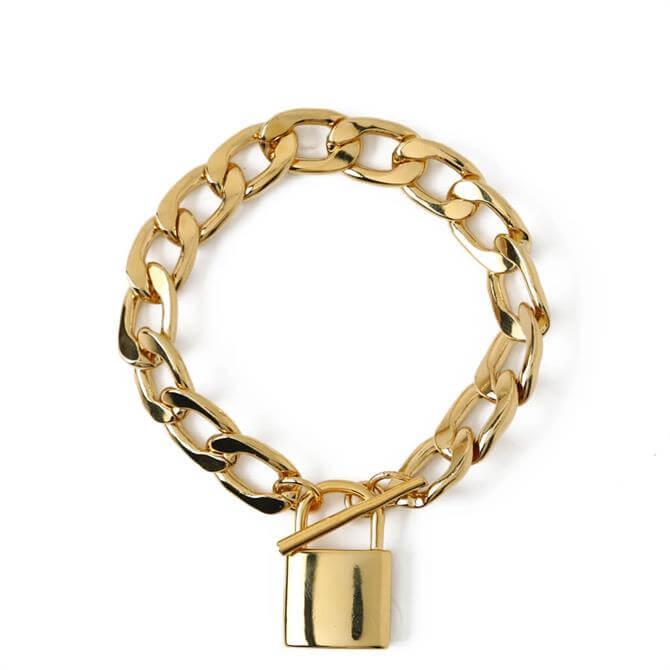 Orelia London Jewellery Gold Chunky Clean Padlock T-Bar Bracelet