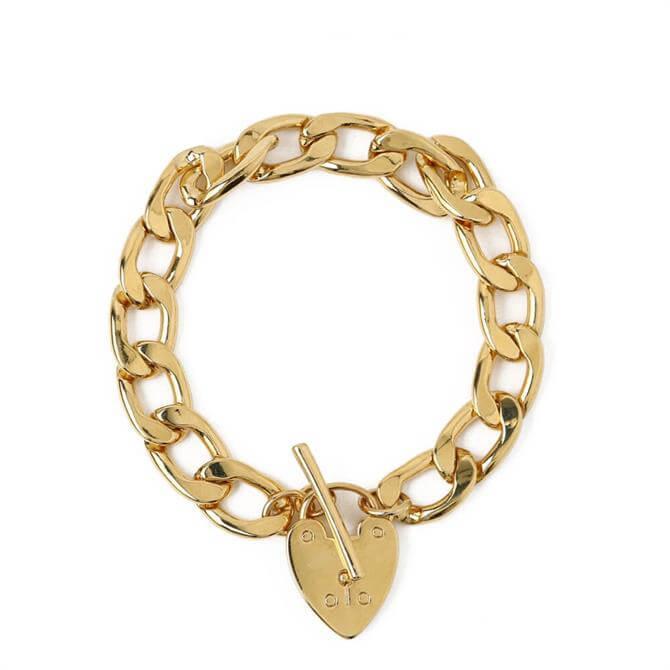 Orelia London Jewellery Gold Chunky Heart Padlock T-Bar Bracelet