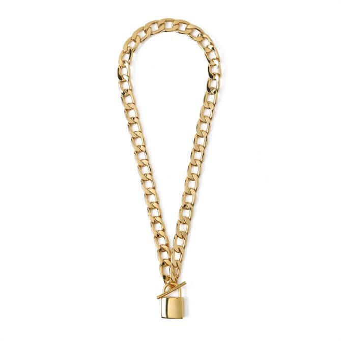 Orelia London Jewellery Gold Chunky Padlock T-Bar Necklace
