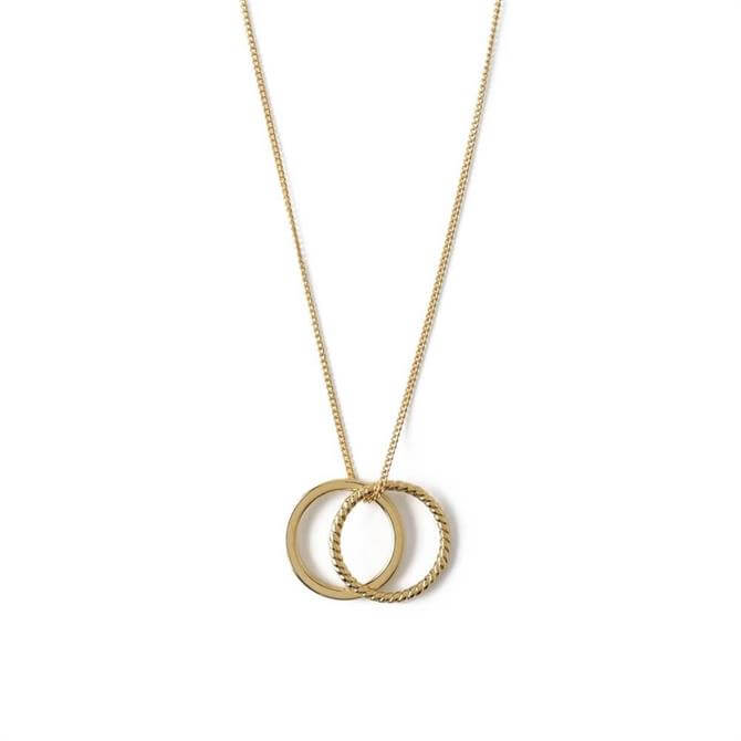 Orelia London Jewellery Gold Rope Double Ring Short Necklace