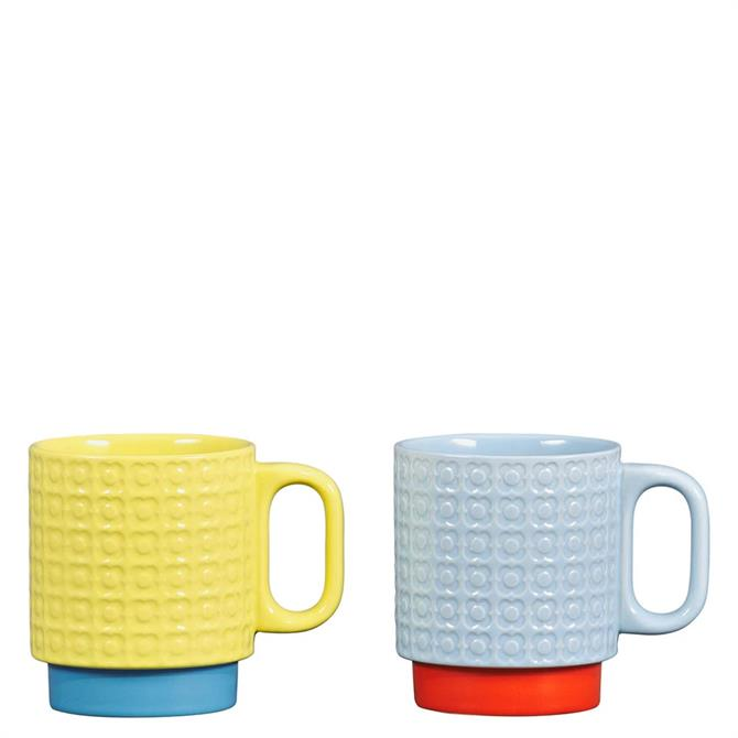 Orla Kiely Yellow & Blue Pressed Flower Set of 2 Stacking Mugs