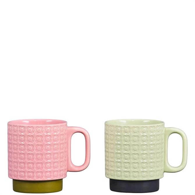 Orla Kiely Pink & Green Pressed Flower Set of 2 Stacking Mugs