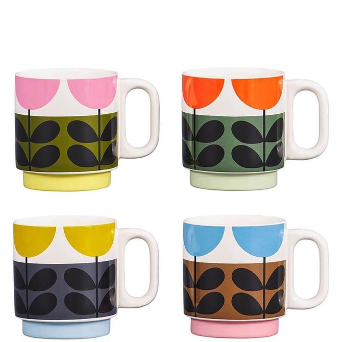 Orla Kiely Sunflower Set of 4 Stackable Mugs