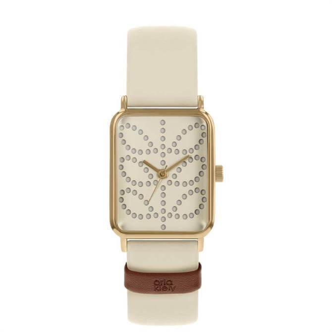 Orla Kiely Stem Gold/Cream Rectangular Ladies Watch