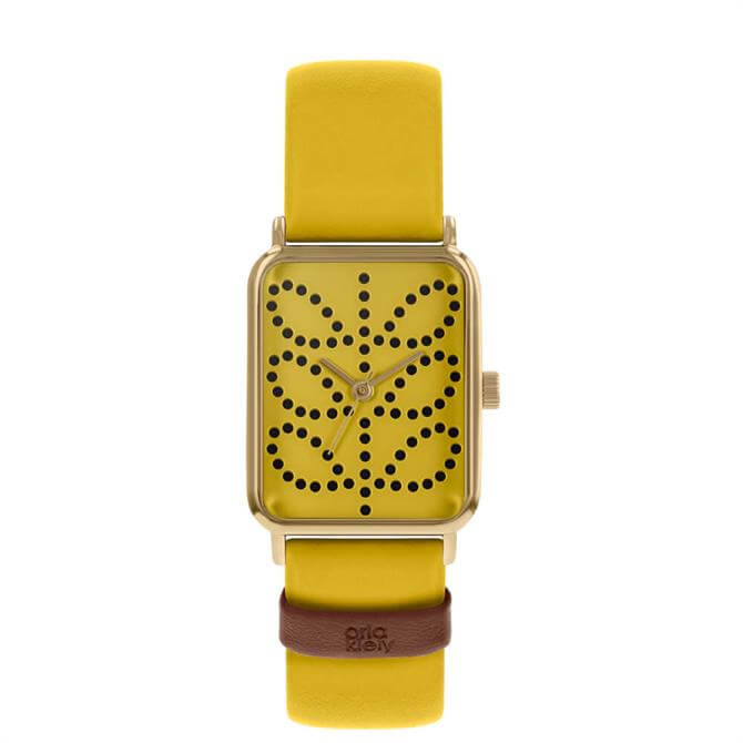 Orla Kiely Stem Gold/Mustard Rectangular Ladies Watch