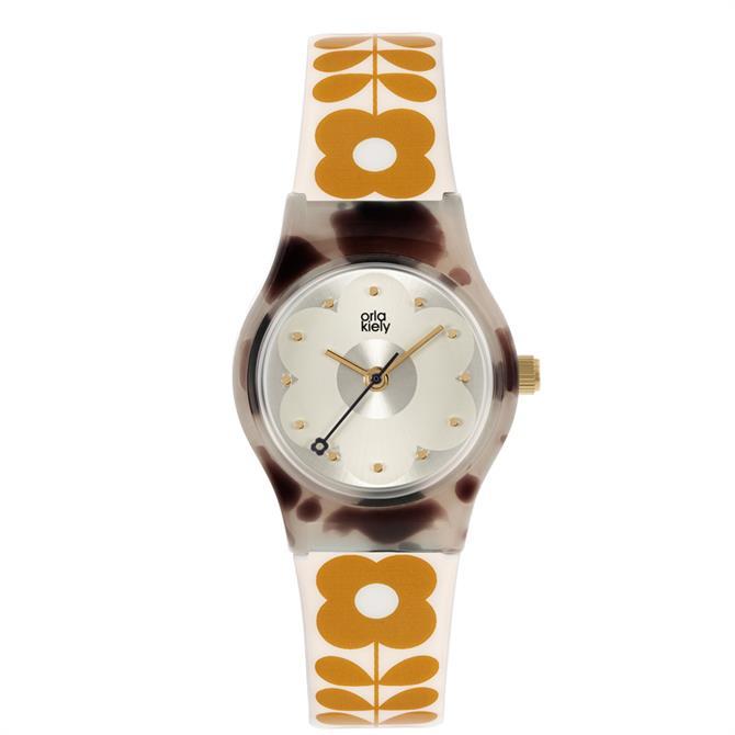 Orla Kiely Baby Bobbie Cream with Brown Flower Print Watch