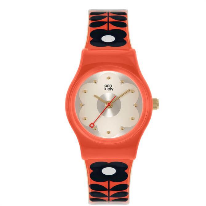 Orla Kiely Baby Bobbie Red & Black Flower Print Watch