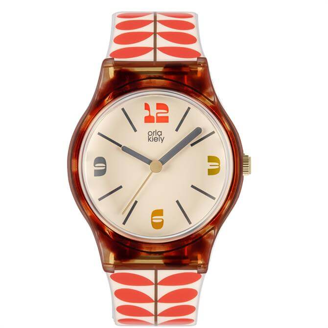 Orla Kiely Bobby Tortishell and Red Stem Ladies Watch