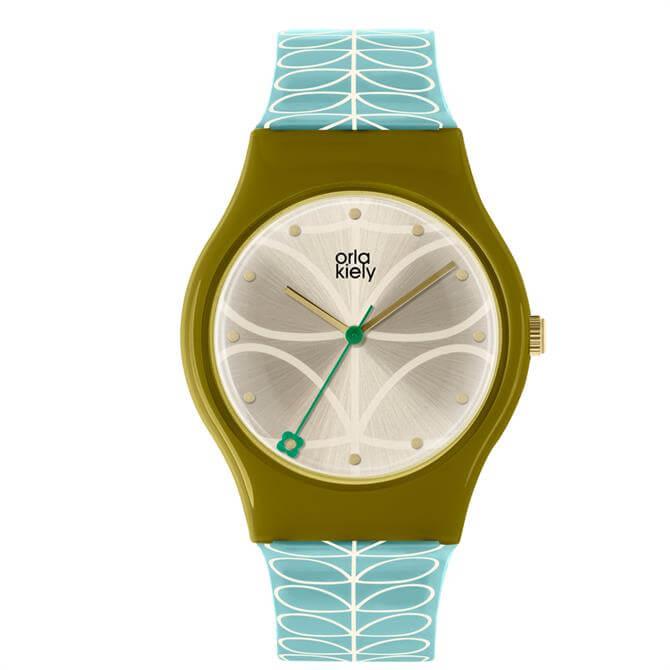 Orla Kiely Bobby Sky Blue Linear Print Watch