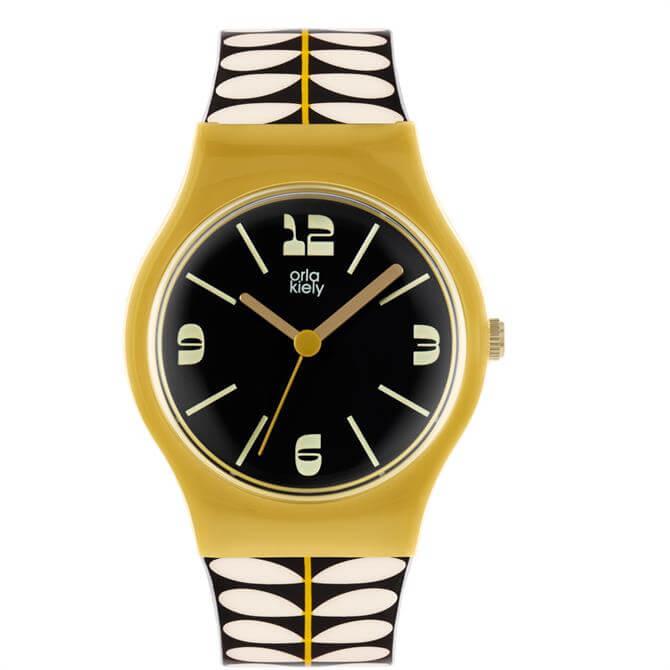 Orla Kiely Bobby Yellow, Black & White Ladies Watch