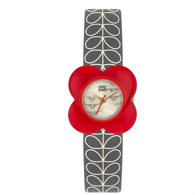 Orla Kiely Poppy Grey Leather Watch