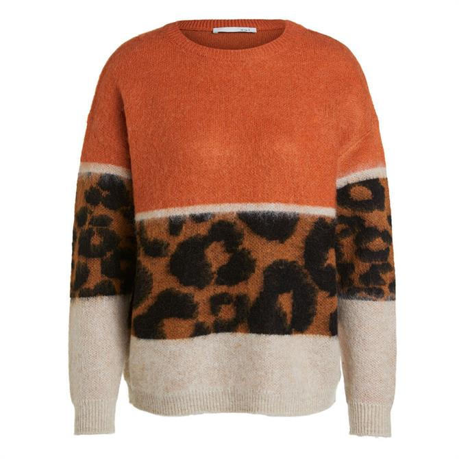 Oui Animal Block Print Sweater