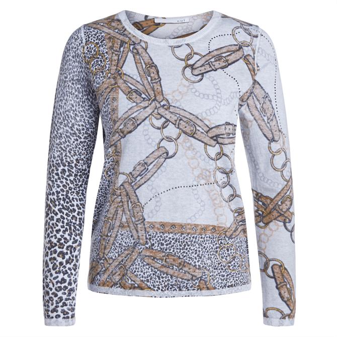 Oui Leopard & Chain Fine Knit Jumper