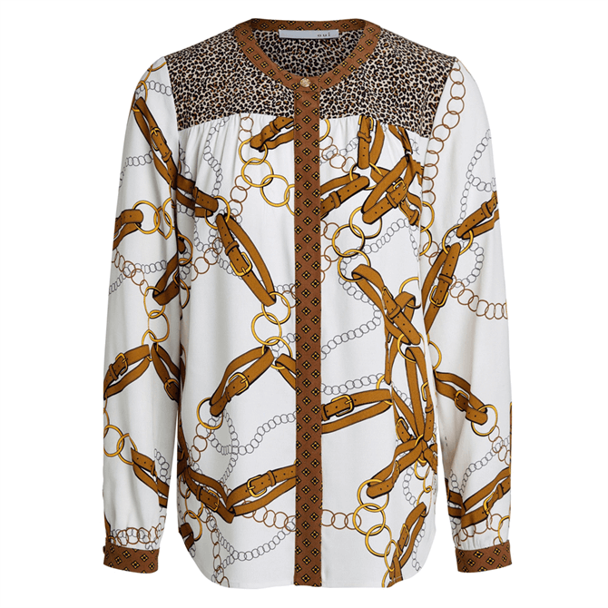 Oui Chain & Leopard Print Blouse