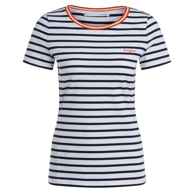 Oui Contrast Neckline Striped T-Shirt