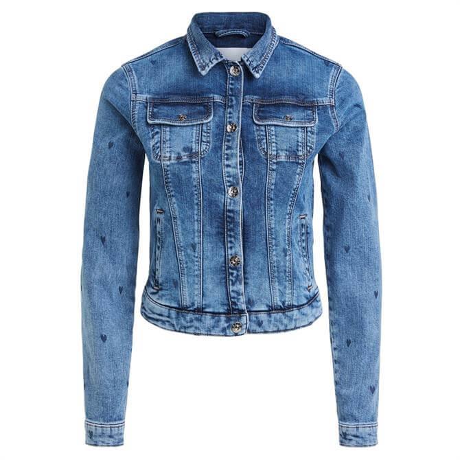 Oui Heart Print Denim Jacket
